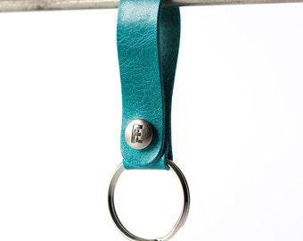 Leather Keychain / Snap Loop / Arctic Ocean