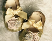 Baby Girl Gold  glitter crib Shoes,Christening, Baptism, Wedding, soft sole .Ready to ship