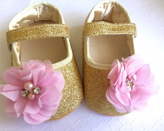 Baby Girl Gold  crib Shoes, pink chiffon rosette,Christening, Baptism, Wedding, soft sole .Ready to ship