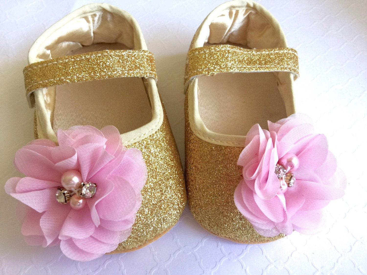 Baby Girl Gold crib Shoes pink chiffon by TheBabyBellaBoutique