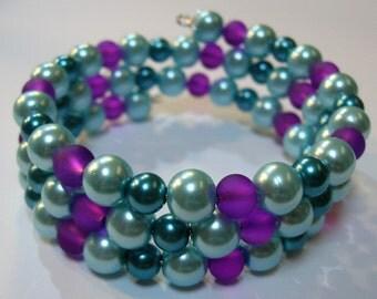 Jewel Tones Beaded Bracelet on Memory Wire