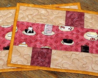 Pink Mug Rugs, Quilted Mug Rugs, Snack Mats, Mug Mats, Cake themed Mug Rugs, Set of 2 Mug Rugs