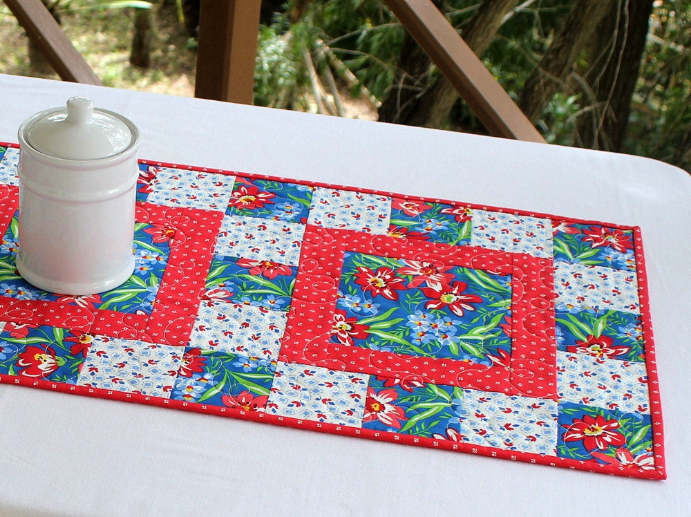 Quilted table runner floral table runner summer table for 102 table runner