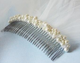 Hair Comb For Veil Bridal Hair Comb Wedding Hair Accessory Large Pearl Haircomb Ivory Pearl Bridal Haircomb Bridal Headpiece Pearl Headpiece