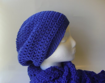 Hat and Scarf Set, Handmade Crochet Blue Slouchy Beanie Lace Scarf for Women Royal Blue Vegan Womens Accessories