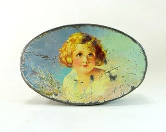 Vintage Art Deco Tin, Crawford Pretty Blonde 'Shirley Temple' Girl Shabby Chic Lidded Biscuit Tin Sample Size 1930s