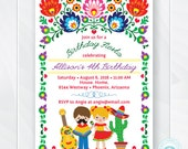 Kids Fiesta Birthday Invitation, Children's Mexican Fiesta Invite, Fiesta Birthday Invite, Cinco de Mayo Kids Party, Printable Invitation