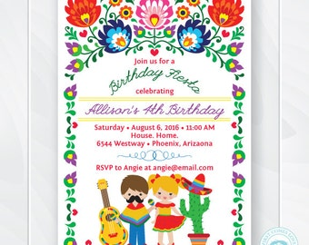 Kids Fiesta Birthday Invitation, Children's Mexican Fiesta Invite, Fiesta Birthday Invite, Cinco de Mayo Kids Party, Printable #0208