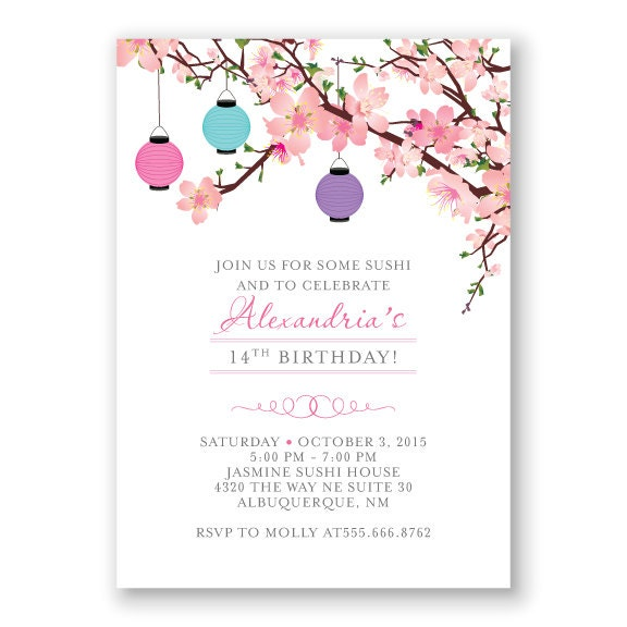 cherry blossom birthday invitation japanese inspired birthday. Black Bedroom Furniture Sets. Home Design Ideas