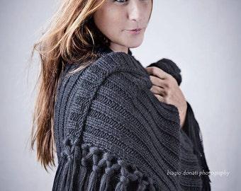 Tesa Berry shawl, wrap, poncho, blanket in 100% Baby Alpaca Wool