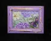 Purple Butterfly Vintage Inspired Picture Frame - 4X6 - Vintage Rhinestone Jewelry, Vintage, Distressed, Home Decor, Handmade