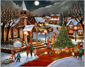 Pack of 4 Christmas Holiday Snow Winter Season Scenic Greeting Stationery Notecards / Envelopes