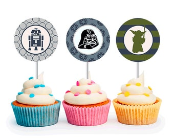 INSTANT DOWNLOAD Modern Boys Star Wars Cupcake Toppers (Star Wars party, Yoda, Darth Vader, R2D2, Star Wars, Printable Cupcake Toppers)