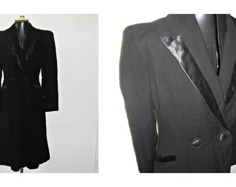 Vintage 1940s Skirt Suit Black Gaberdine Wool Long Jacket