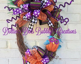 Halloween Oval Owl Grapevine Wreath