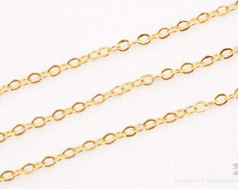 C120-G// 14k Gold Plated Small Cable Chain, 1M