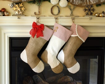 Set of Three (3) Christmas Stockings with Burlap and Red Accents