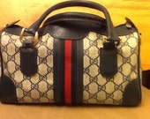 Vintage Gucci Speedy Doctor Boston Bag Purse, Red and Blue Stripe