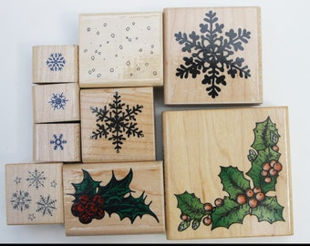 Snowflakes and Holly rubber stamps Wood mounted Miscellaneous stamps