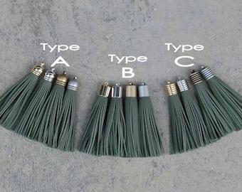 2 Khaki Leather (cowhide) TASSEL in 10mm Cap -4 colors Plated Cap- Pick cap type and cap color