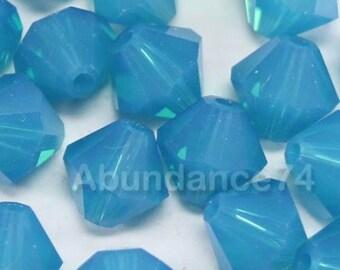 24 pcs Swarovski Element 5301 5328 6mm Bicone Xilion Crystal Beads Caribbean Blue (N)