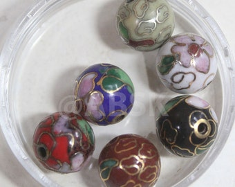2pc Metal Vintage Cloisonne Beads 10mm Round Ball Shape w Flower - Pick Color