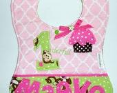 Custom Baby Girl 1derful birthday bib, Monkey 1st Birthday Bib, Appliqued Cupcake Bib, Babys 1st Birthday Bib, Girls 1st birthday bib