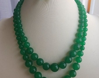 JADE SET-  18-20inch double rows 8-14mm green jade necklace & 8mm earring set