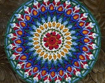 Miniature Round Mandala Mat Carpet Rug or Afghan - Maroon, Gold, Cream, Dark Blue, Light Blue