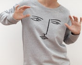 Face - Grey organic sweatshirt by Depeapa