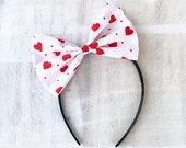 White bow headband with cute red love heart print Pin up doll Valentine's