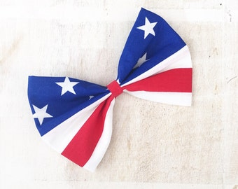 Red, white and blue Stars and Stripes - USA - America - 4th July large hair bow