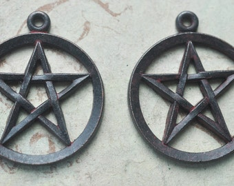 Two Brass Wiccan Pentagram charms, Wicked Sassy Patina