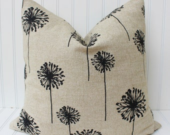 Natural Tan Pillow Covers, Throw Pillow, Decorative Pillow, Tan Cushions, Premier Prints Dandelion Tan and Black, Floral Pillow