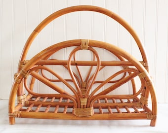 Bamboo magazine rack, vintage magazine rack, bamboo, vintage home decor, Vintage Palm Beach, Hollywood Regency
