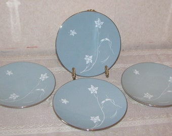 Flintridge Damask Leaf Grey Bread and Butter Plates - Set of 4