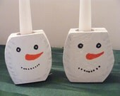 Pair of Snowmen Head/Face Candle Holders