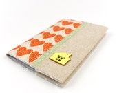 Handprinted Linen Fabric Passport Case Travel Accessory No Place Like Home Passport Cover