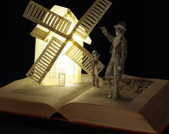 Duelling windmill greeting card from an altered book sculpture