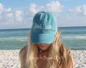 Personalized Baseball Cap Beach Please Custom Embroidered Hat Caribbean Blue