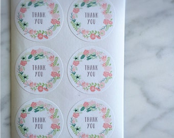 Pink and Green Floral wreth thank you label sticker - 24 pieces - 3.8cm round enveolpe seal - wedding invitation