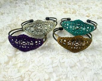 Bohemian Filligree   Cuff Bracelet    Filligree Cuff    Patina Cuff     Fall Accessory     Cuff Bracelet    item 355