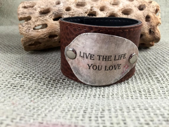 leather cuff bracelet inspirational quote bracelet bohemian