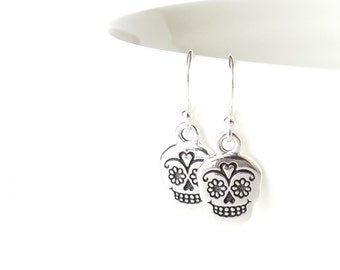 Sugar skull earrings, sterling silver ear wires with Mexican sugar skull charm, Day of the Dead