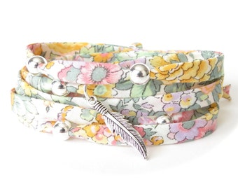Special 21st birthday gift for girls, Bohemian feather bracelet in sage green, golden yellow & pink, Liberty fabric wrap with 7 silver beads