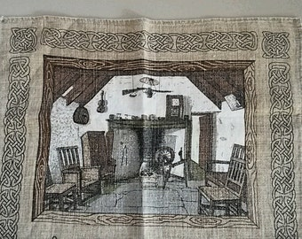 """Vintage Linen Tea Kitchen Towel """"A Scots Toast"""" by Linanne / Made in UK ~ 27x18 No Stains"""