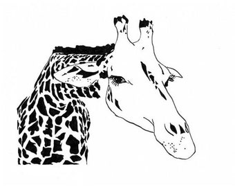 Giraffe - Ink Sketch, Ink Drawing, Pen and Ink, Black and White, Fine Art Print, Giclee, Original Art, African, Spots, Stripes, Animal Print
