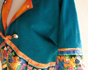 """Altered Teal Sweatshirt Jacket Swingy Style with Laurel Burch Fabric """"Felines & Canines"""" Goldtone Buttons Women's Size Large"""