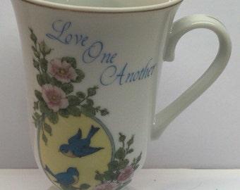 Vintage Mug Love One Another Treasury of Thoughts Porcelain Mug