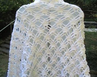 Crochet Stole, Lacy  Shawl, Wrap - White